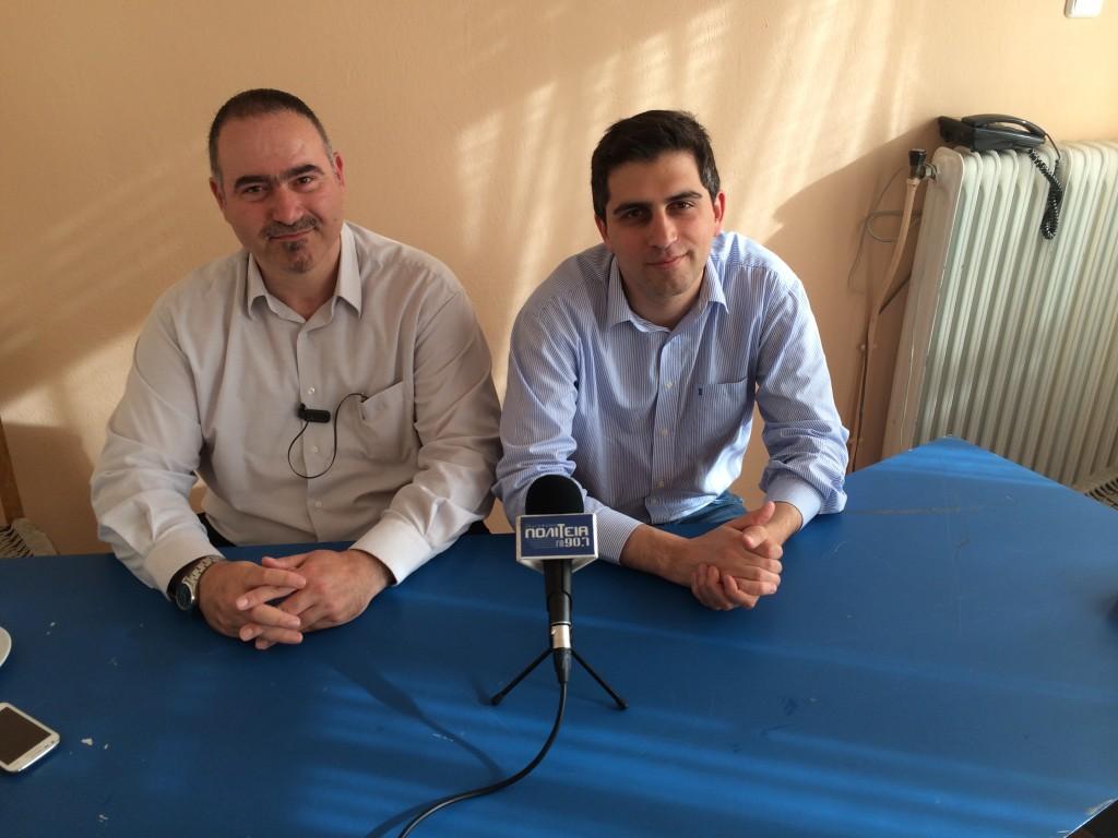 Με τον πρόεδρο της ΝΟΔΕ Λακωνίας Κυριάκο Διαμαντάκο, λίγο πριν την συνέντευξη τύπου.