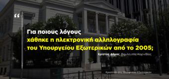 ΕΡΩΤΗΣΗ | Απώλεια της ηλεκτρονικής αλληλογραφίας του Υπουργείου Εξωτερικών